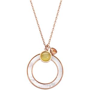 Collier en acier chaîne avec pendentif cercle effet nacre blanche imitation et pierres effet oeil de chat 42+3cm - Vue 2