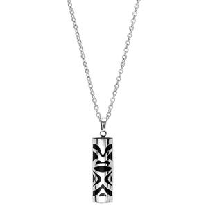 Collier en acier avec Pendentif Tiki en onyx véritable 50+5cm - Vue 2