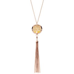 Collier avec Pendentif diffuseur de parfum grand médaillon arbre de vie et pompon PVD rose - réglable 45 à 65cm - Vue 2