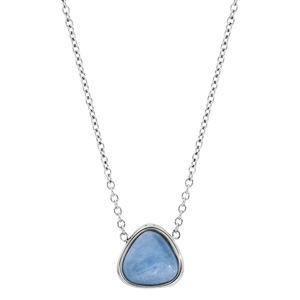 Collier en acier chaîne avec pendentif pierre Jade bleue 42+3cm - Vue 2