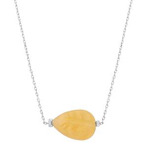 Collier en acier chaîne avec pierre naturelle Jade jaune 42+3cm (equilibre & honneteté) - Vue 2