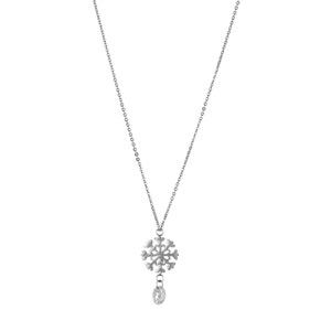 Collier acier pendentif flocon de neige pierre blanche pendante 45cm - Vue 2
