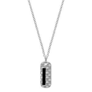 Collier en acier chaîne avec pendentif rectangle arrondi quadrillé et bande en PVD noir - longueur 50cm + 5cm de rallonge - Vue 2