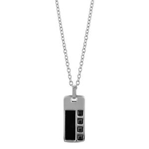 Collier en acier chaîne avec pendentif rectangle orné d\'1 bande en PVD noir et d\'oxydes carrés noirs - longueur 50cm + 5cm de rallonge - Vue 2