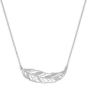 Collier en acier chaîne avec pendentif grande plume avec parties granitées - longueur 40cm + 5cm de rallonge - Vue 2