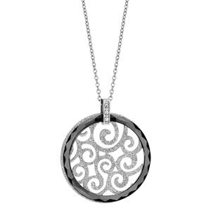 collier en acier cha ne avec pendentif rond en c ramique noire et motif filigran granit l. Black Bedroom Furniture Sets. Home Design Ideas