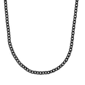 Chaîne en acier et PVD noir maille forçat 42cm + 4cm de rallonge - Vue 2