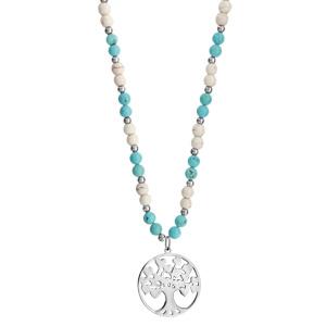 Collier acier et boules imitation blanches et bleues pendentif arbre de vie 45+10cm - Vue 2