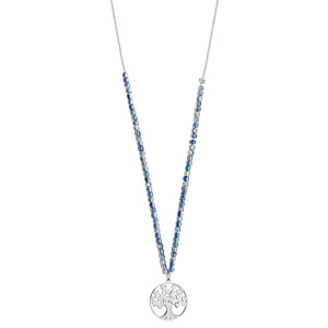 Sautoir acier et perles de verres bleues avec pendentif arbre de vie 80+5cm - Vue 2