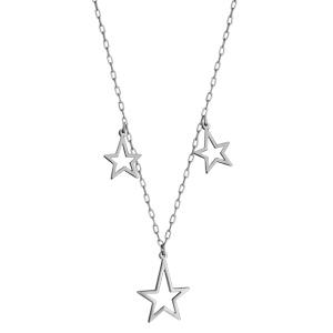 Collier en acier chaîne avec 3 pampilles étoiles évidées - longueur 40cm + 5cm de rallonge - Vue 2