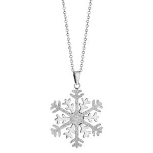 Collier en acier chaîne avec pendentif flocon de neige granité et brillant - longueur 42cm + 4cm de rallonge - Vue 2