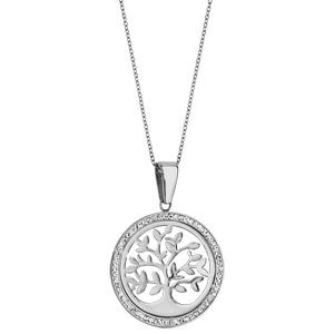 Collier en acier chaîne avec pendentif rond avec arbre de vie ajouré et contour en résine et strass blanc - longueur 42cm + 8cm de rallonge - Vue 2