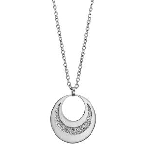 Collier en acier pendentif 2 cercles avec glitter à graver 60cm réglable 45/50/55cm - Vue 2