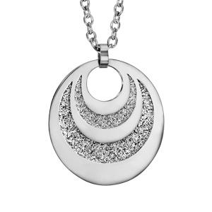 Collier en acier pendentif 3 cercles avec glitter à graver 60cm réglable 45/50/55cm - Vue 2