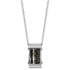 Collier en acier chaîne avec pendentif rectangulaire avec carbone quadrillé avec reflets dorés - longueur 50cm + 5cm de rallonge - Vue 2