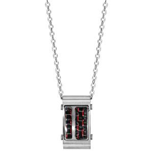 Collier en acier satiné reflet rouge réglable 50+5cm - Vue 2