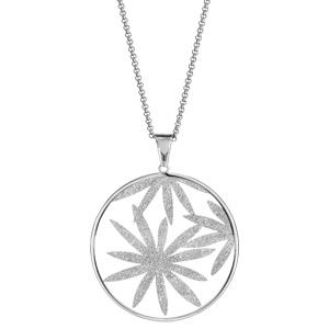 Collier en acier chaîne avec pendentif anneau avec feuillage granité à l\'intérieur - longueur 42cm + 4cm de rallonge - Vue 2