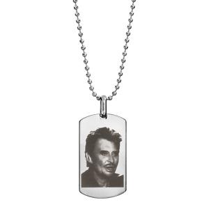 Collier + pendentif plaque GI avec portrait Johnny - Vue 2