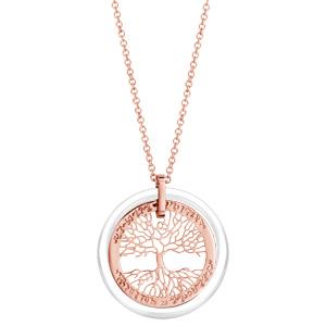 Collier en acier et PVD rose pendentif arbre de vie contour céramique blanche 42+3cm - Vue 2