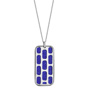 Collier en acier chaîne avec pendentif rectangulaire motifs géométriques glitter bleu royal 45+10cm - Vue 2