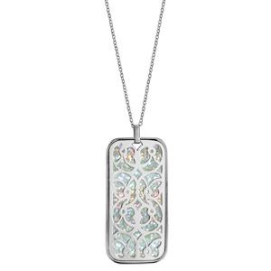 Collier en acier chaîne avec pendentif motifs volutes glitter blanc 45+10cm - Vue 2