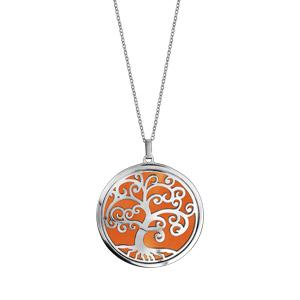 Collier en acier chaîne avec pendentif motif arbre de vie orange 45cm + 10cm - Vue 2