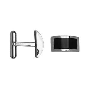 Boutons de manchettes en acier et résine noire rectangle arrondi - Vue 2