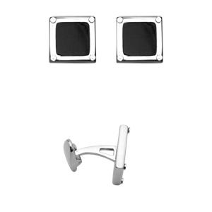 Boutons de manchettes en acier carrés en résine noire avec contours lisses - Vue 2