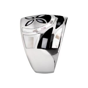 Bague Stella Mia en acier et nacre large motif fleur noir et blanc - Vue 2
