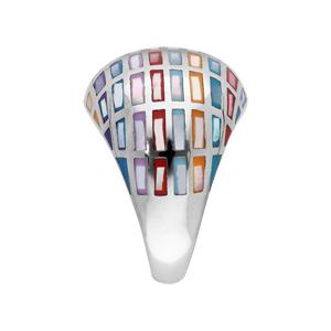 Bague Stella Mia en acier et nacre motifs géométrique multi couleur - Vue 2