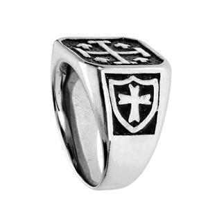 Chevalière en acier plateau carré avec croix de Jérusalem fond noir - Vue 2