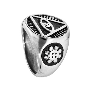 Chevalière en acier plateau rond motif illuminati - Vue 2