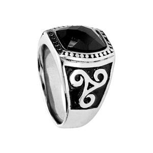 Chevalière en acier plateau rectanguleire avec pierre facettée noire et motif trèfle sur coté - Vue 2