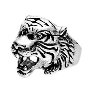 Chevalière en acier tête de tigre - Vue 2