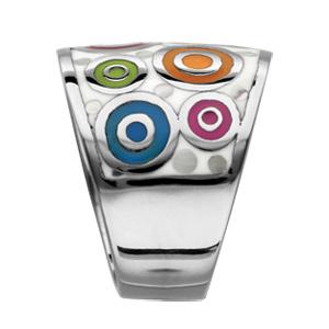 Bague Stella Mia en acier et nacre blanche véritable motifs spirales et multicolore - Vue 2