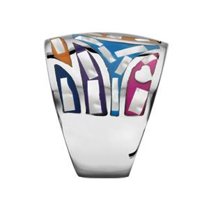 Bague Stella Mia en acier et nacre blanche véritable motif fleur et multicolore - Vue 2
