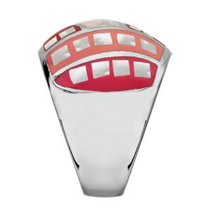 Bague Stella Mia en acier et nacre blanche véritable bombée avec motifs et dégradé de rouge et rose - Vue 2