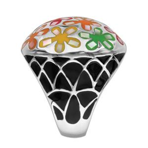Bague Stella Mia en acier et nacre blanche véritable plateau rond bombé et motifs fleurs multicolores - Vue 2