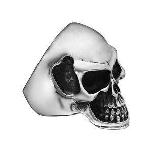 Chevalière en acier tête de mort noircie - Vue 2