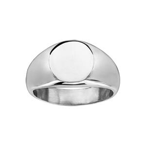 Chevalière en acier plateau ovale - Vue 2