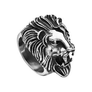 Chevalière en acier patiné tête de lion baissée - Vue 2