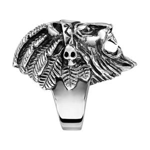 Chevalière en acier patiné tête de lion avec plume - Vue 2