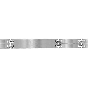 Bracelet en acier satiné maillons lisses avec un trait au milieu et avec plaque à graver au milieu - largeur 9mm et longueur 21cm - Vue 2