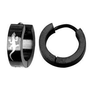 Créoles articulées en acier noir motif salamandre - Vue 2
