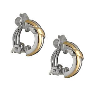 Boucles d\'oreilles en plaqué or et plaqué palladium clip bicolore 2 brins avec ruban et fermoir clip pour oreilles non percées - Vue 2