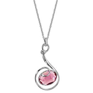 Collier finition argentée rhodié pendentif volute verre taillé main rose - longueur 42+3cm - Vue 2