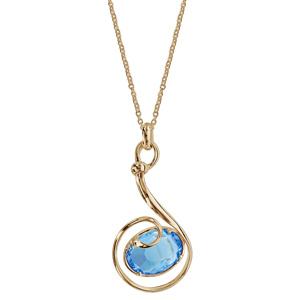 Collier finition dorée pendentif volute verre taillé main bleu clair - longueur 42+3cm - Vue 2