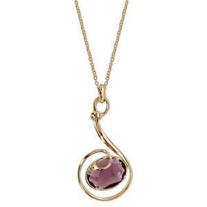 Collier finition dorée pendentif volute verre taillé violet - longueur 42+3cm - Vue 2