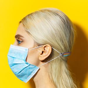 Bijou de masque 10 fils caoutchouc multi couleurs - Vue 2