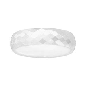 Alliance demi-jonc en céramique blanche 6mm avec facettes - Vue 2